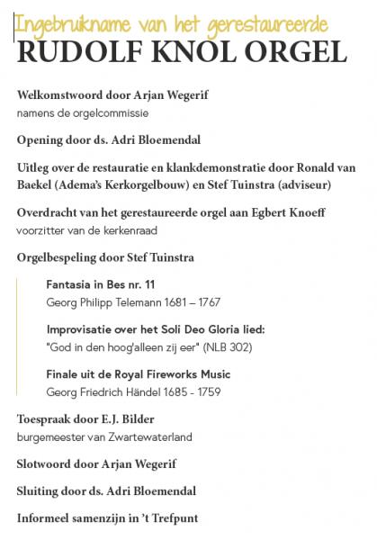 Programma orgelconcert